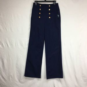 Lauren Ralph Lauren Navy Button Sailor Pants